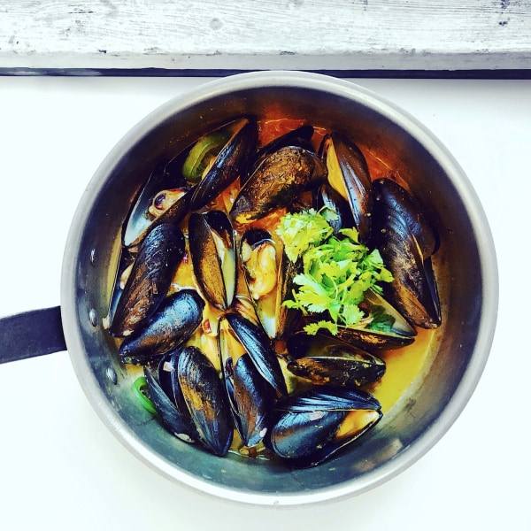 Image of Pan Seared Mussels with Makrut Lime Leaf