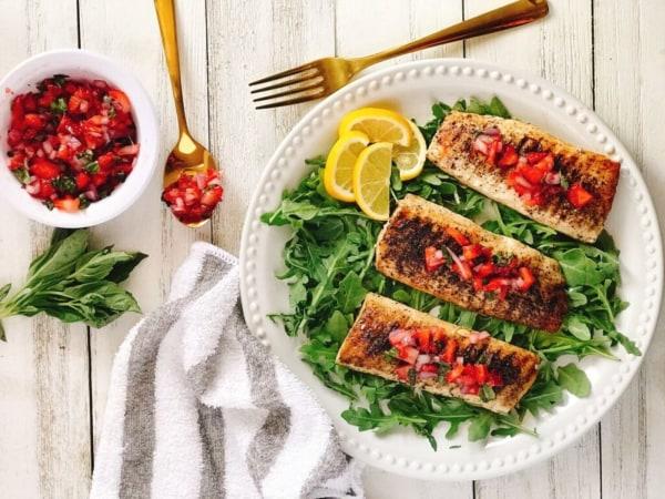 Image ofGrilled Mahi Mahi with Strawberry Basil Salsa Recipe