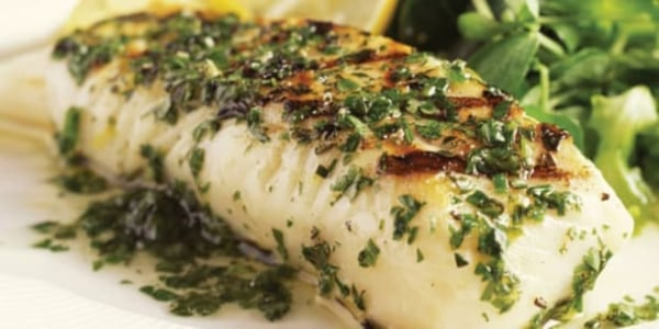 Image of Baked Halibut with Pesto, Zucchini, and Carrots