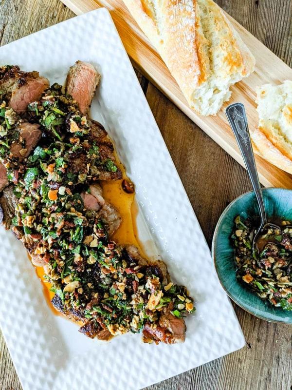 Image ofCast Iron Steak with Almond-Parsley Salsa