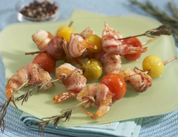 Image ofRosemary Skewered Bacon Wrapped Shrimp with Baby Heirloom Tomatoes