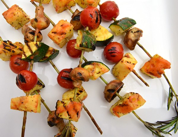 Image of Rosemary Skewered Summer Vegetables with Red Tamarillo Mango BBQ Sauce