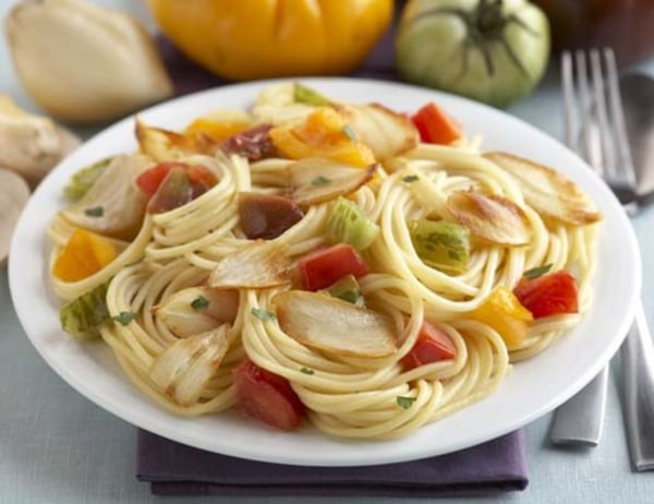 Image of Super Colossal Garlic Buttered Noodles with Heirloom Tomatoes