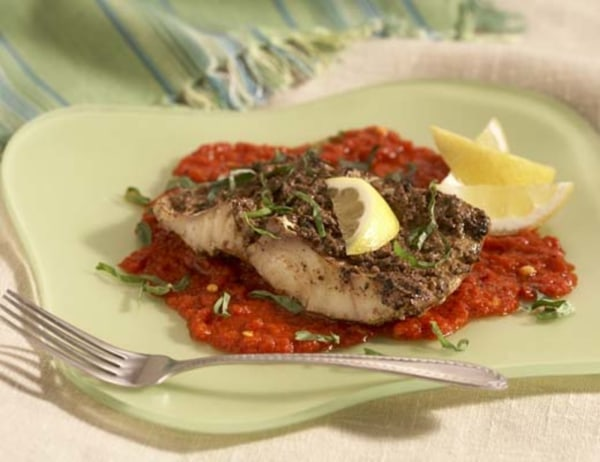 Image ofGrilled Fish with Pesto and Red Bell Pepper Puree