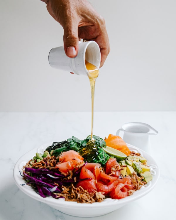 Image of Loaded No Rice Tuna Poke Bowl with Hot Honey and Ponzu