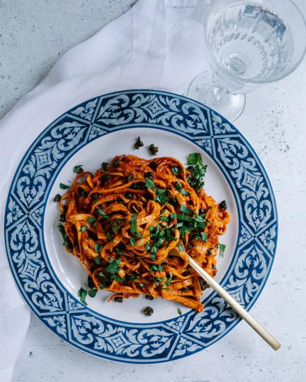 Pasta-alla-Vodka-Crisp-Capers-Basil-Recipe-Smor-Kitchen-Jaharn-Quinn
