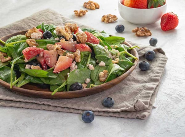 Image of Tropical Spinach Salad with Strawberry Balsamic Vinaigrette