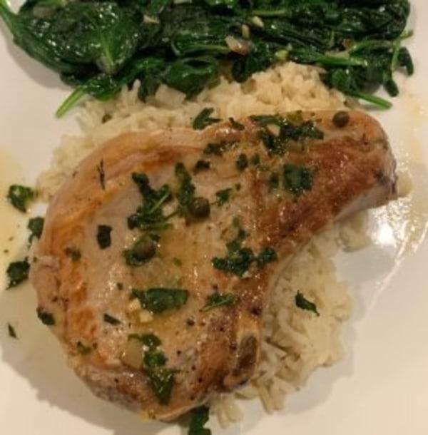 Image of Pork Chops in Lemon-Caper Sauce