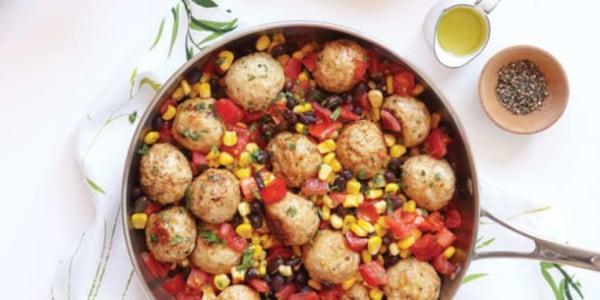 Southwest turkey meatballs with corn and black bean salsa recipe