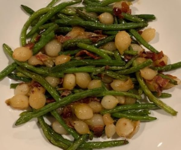 Image of Roasted Green Beans with Pearl Onions and Bacon Lardons in Balsamic Glaze