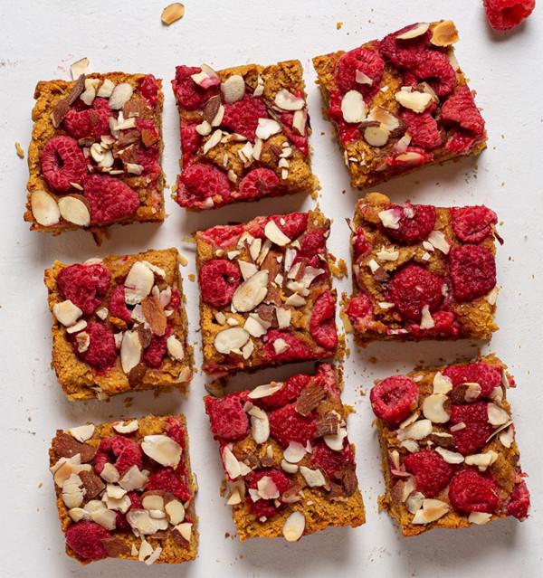 Image of Low-Carb, Keto Breakfast Bars with Raspberries, Coconut, and Almonds