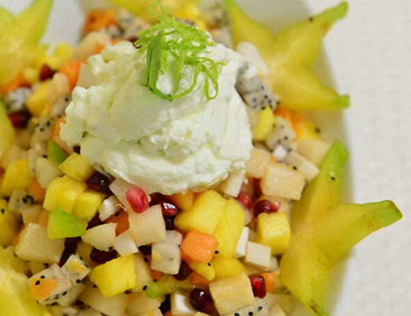 Image of Tropical Fruit Salad with Mint and Key Lime Chantilly Cream