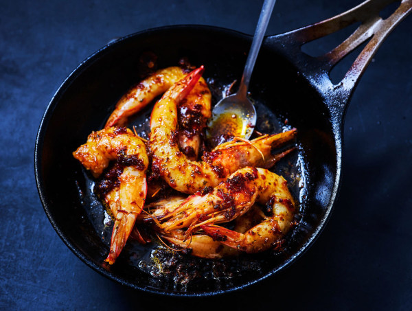 Grilled Prawns with Hearty Harissa and Fresh Lime
