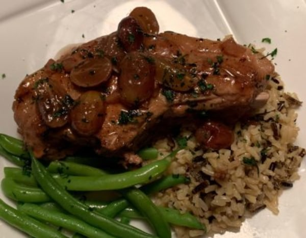 Image of Seared Pork Chops with Red Wine Sauce and Grapes