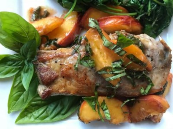 Image ofPork Chops with Fresh Peaches and Basil