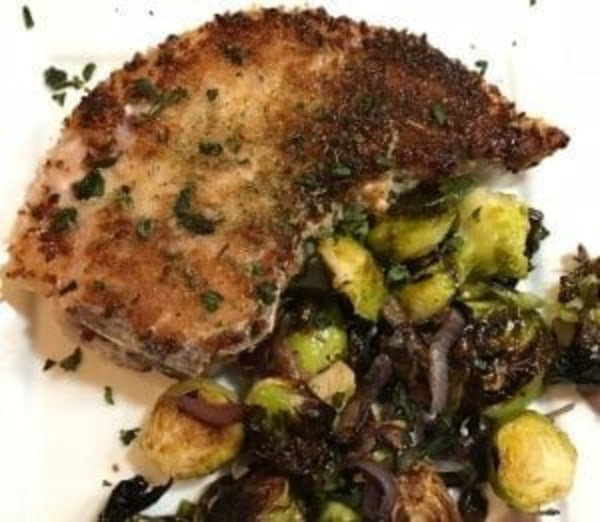 Image of Crispy Pork Chops with Sriracha Brussels Sprouts