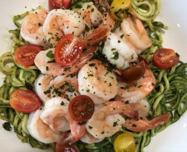 Image ofZucchini Noodles with Avocado Pesto Shrimp