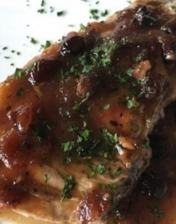 Image ofPork Chops with Cranberry-Maple Pan Sauce