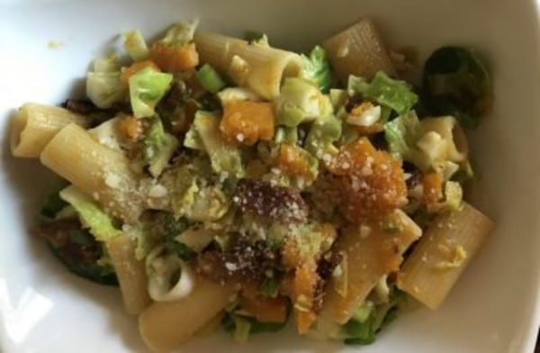 Image ofRigatoni with Butternut Squash, Brussels Sprouts, and  Hickory Smoked Bacon