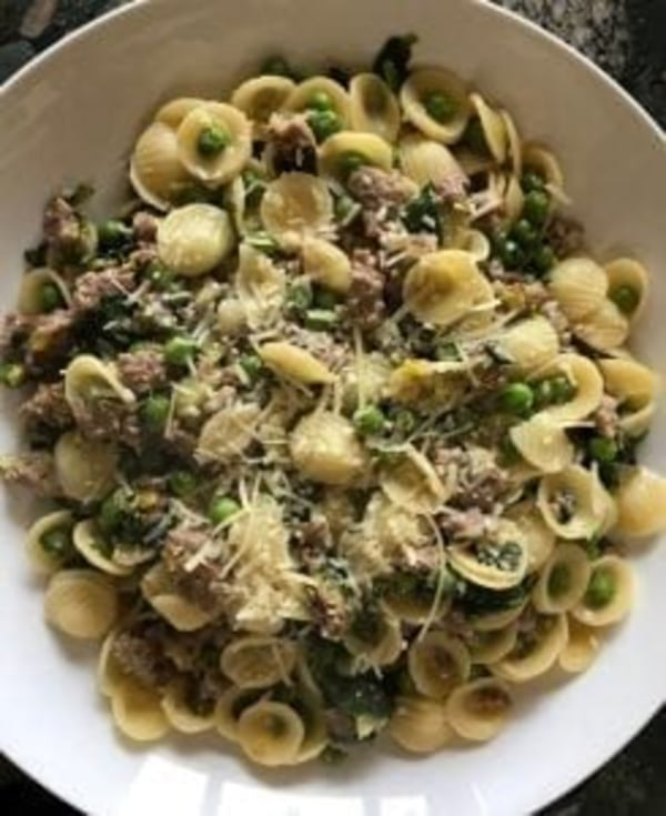 Image ofOrecchiette with Leeks, Spinach, Sausage, and Peas