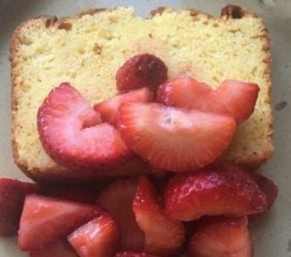 Image ofRicotta Orange Pound Cake with Strawberries