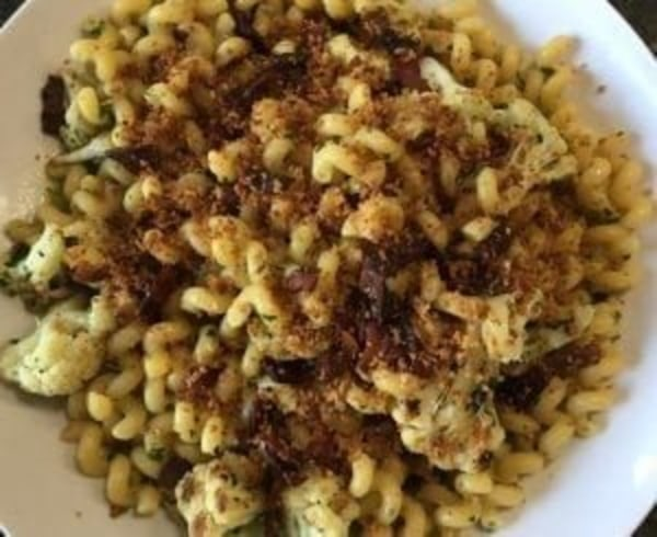 Image ofPasta with Cauliflower, Bacon, and Bread Crumbs