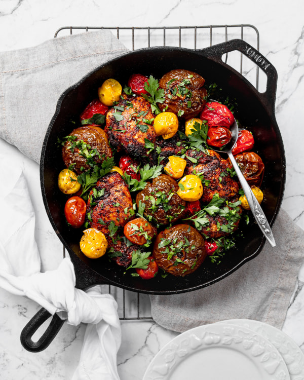 Image of Moroccan Chicken With Skillet Roasted Heirloom Tomatoes