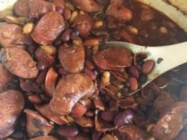 Image ofSlow Cooker Kielbasa and Barbecue Beans