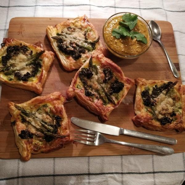 Image ofParmesan Asparagus & Kale Puff Pastry Boats with Avocado Salsa (Guasacaca)