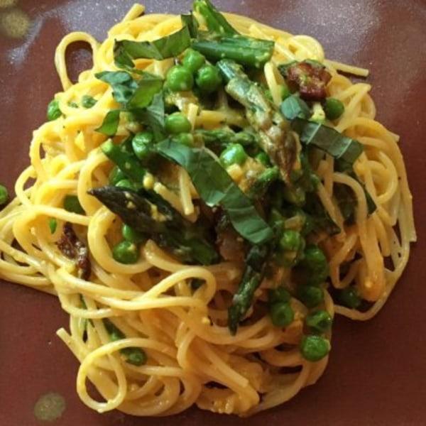 Image ofSpringtime Spaghetti Carbonara