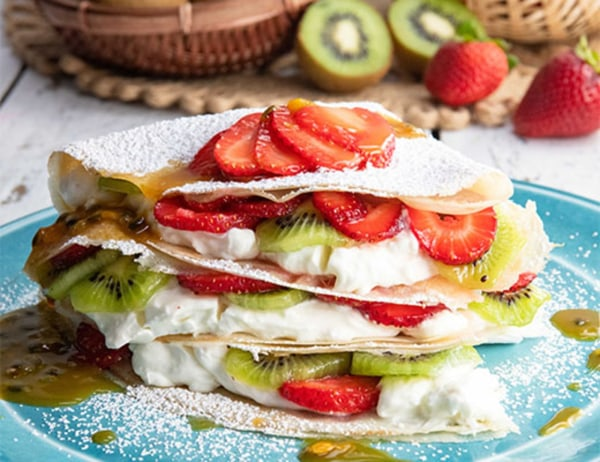 Image of Strawberry and Kiwi Crepes with Passion Fruit Sauce