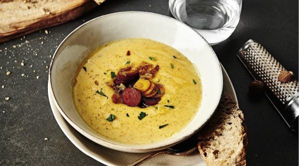 Kartoffel-Möhren-Suppe mit Cabanossi Rezept