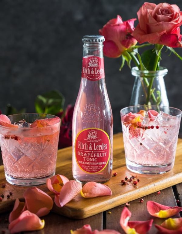 gin, rosewater, pink peppercorn and grapefruit tonic cocktail recipe