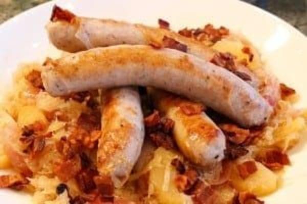 Image ofSauteed German Sausage with Bacon & Apple Sauerkraut