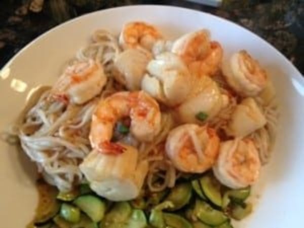 Image ofAsian Sweet Chili Shrimp & Scallops with Sesame Noodles