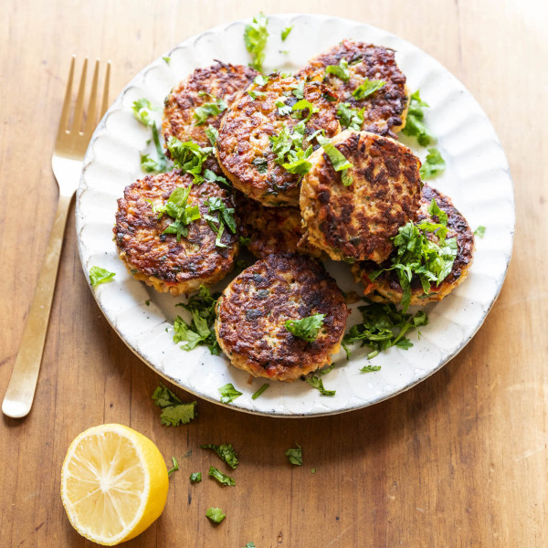 Image ofSavory Pan-fried Farro Cakes with Goat Cheese and Cilantro