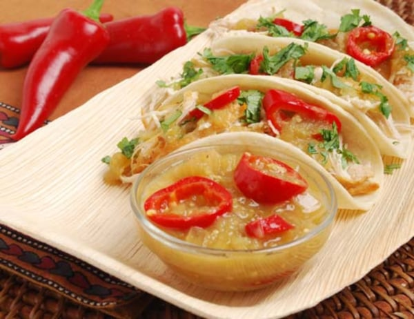 Image ofMini Chicken Soft Tacos with Tomatillo Sauce