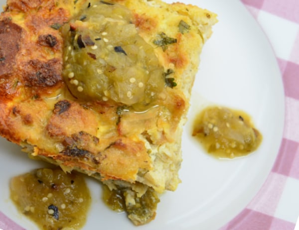 Image of New Mexico Hatch Pepper Casserole with Chef Ida's Roasted Tomatillo Salsa