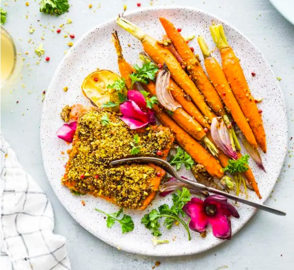 Image ofSheet Pan Pistachio Crusted Salmon with Glazed Carrots