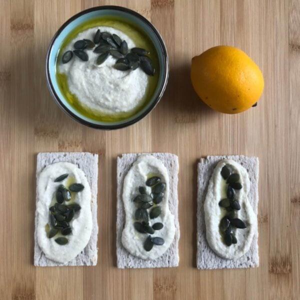 Image of Quinoa Crispbread with White Bean & Artichoke Dip