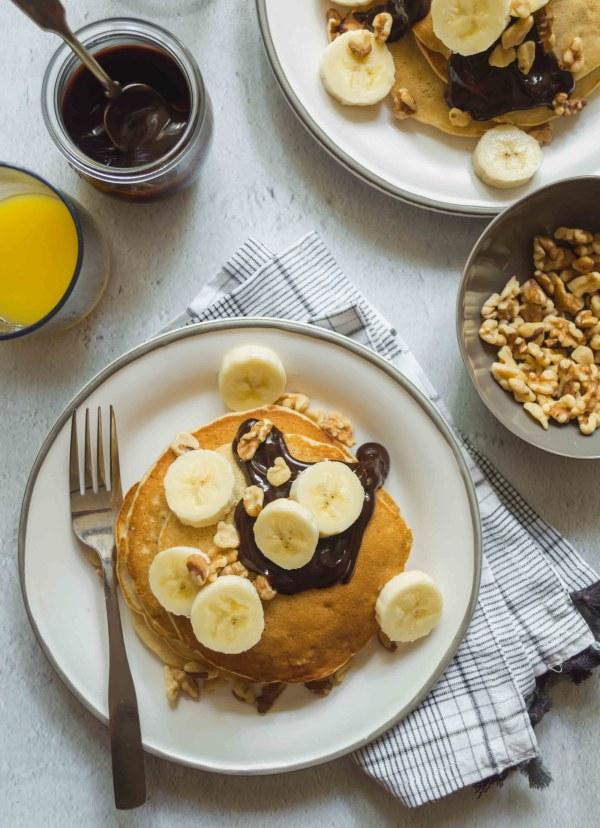 Image ofBanana Walnut Fudge Pancakes