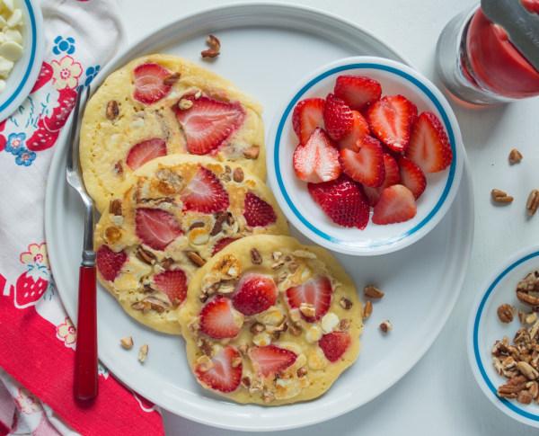Image ofStrawberry Pecan White Chocolate Pancakes