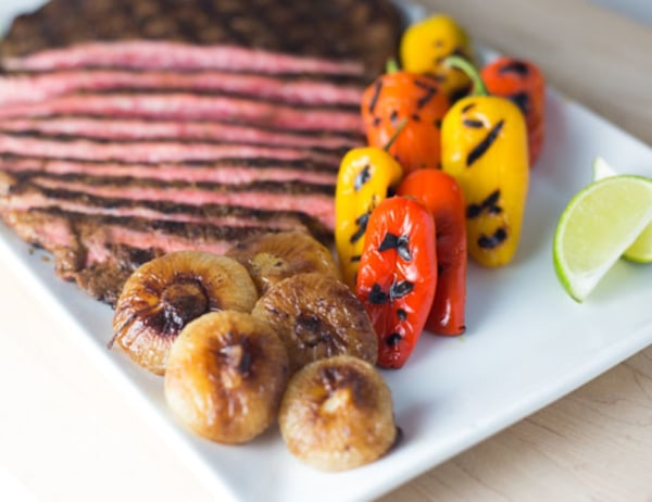 Image ofGrilled Flank Steak with Caramelized Cipolline Onions and Grilled Veggie Sweets