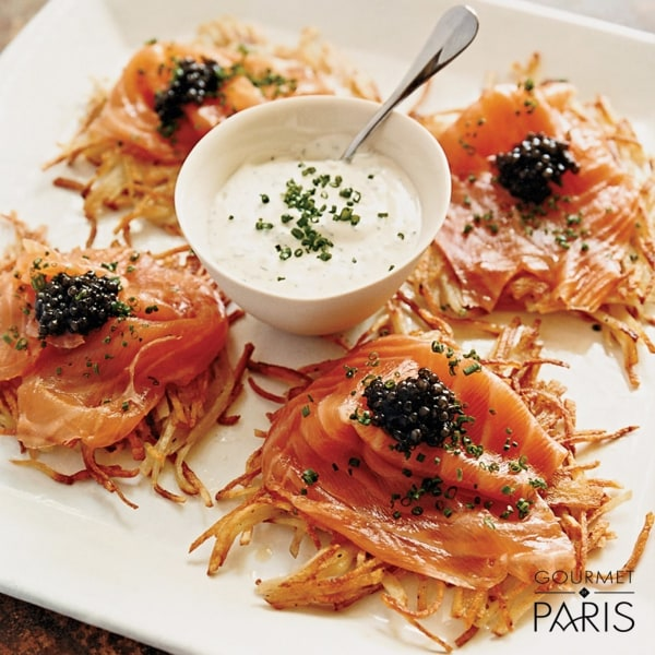 Image ofPotato Pancakes with Smoked Salmon and White Sturgeon Caviar