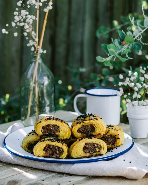 Lamb-Pistachio-Harissa-Sausage-Rolls-With-Turmeric-Rough-Puff-Pastry-Jaharn-Quinn-Smor-Kitchen