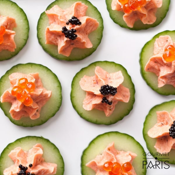 Image ofSmoked Salmon with Réserve Loste Caviar on Cucumber