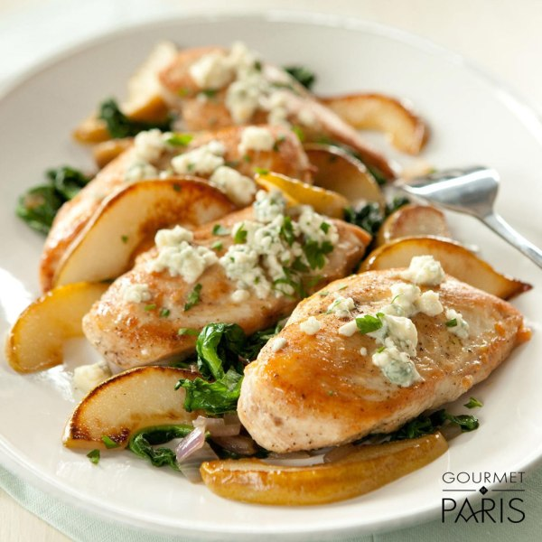 Image ofBaked Chicken with Spinach, Pears and Papillon Roquefort