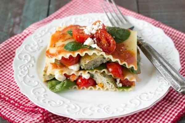 Image ofSpinach tomato and feta lasagna