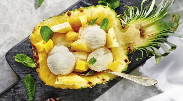 Fruchtiges Tee-Sorbet mit Ananas-Mango Rezept