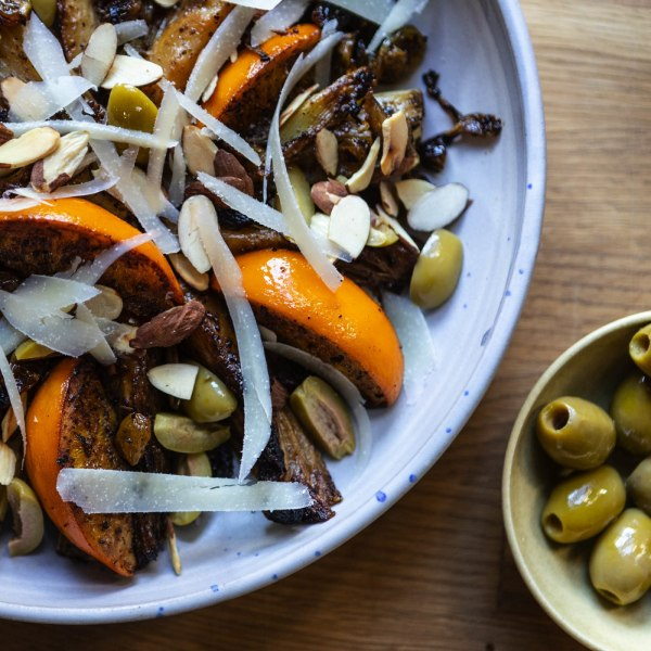 Image of Caramelized fennel salad with pecorino, green olives, and almonds